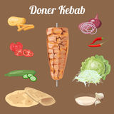 Doner kebab成份 向量例证