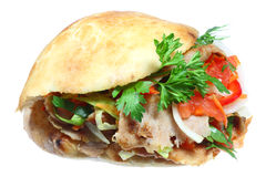 Doner kebab. Doner kebab on a white background royalty free stock photography
