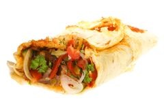 Doner kebab. Doner kebab on a white background stock photography