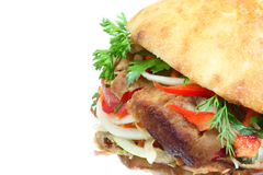 Doner kebab. Doner kebab on a white background royalty free stock photos