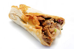 Doner kebab. On a white background royalty free stock photos
