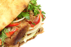 Doner kebab. Doner kebab on a white background royalty free stock image
