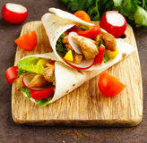 Doner kebab with chicken and vegetables Stock Images