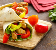 Doner kebab with chicken and vegetables Stock Photography