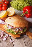 Doner kebab close-up on the table. vertical Stock Photos