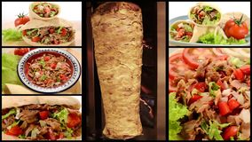 Doner kebab collage. The most popular fast food in Turkey, doner kebab collage stock footage