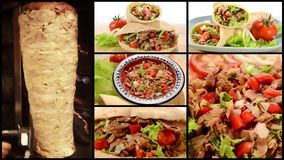 Doner kebab collage. The most popular fast food in Turkey, doner kebab collage stock video