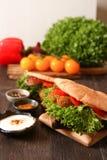 Doner kebab - falafel fresh vegetables in pita Brad Royalty Free Stock Image