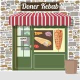 Doner kebab fast food cafe. Building. Vector illustration Stock Image