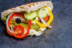 Doner Kebab. Filled with vegetables Stock Photo