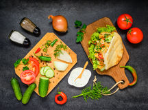 Doner Kebab with Fresh Vegetables Royalty Free Stock Images