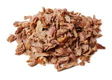 Doner kebab. Grilled beef meat. Minced pieces. stock photography