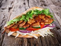 Doner Kebab - grilled meat, bread and vegetables Stock Photo