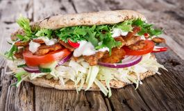 Doner Kebab - grilled meat, bread and vegetables Royalty Free Stock Image
