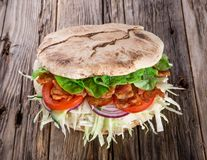 Doner Kebab - grilled meat, bread and vegetables Stock Photography