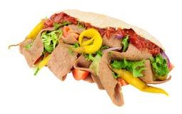 Doner Kebab I sałatka W Pitta chlebie zdjęcie royalty free