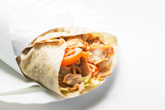 Doner kebab. Isolated on white background stock image