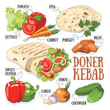 Doner kebab. And its ingredients. Fast food vector illustration stock illustration