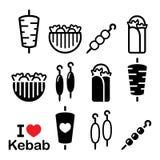 Doner kebab, kebab in wrap or pita bread, shish and adana kebab skewers icons set Stock Photos
