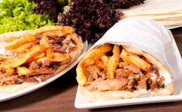 Doner kebab. S on the plates Stock Photo