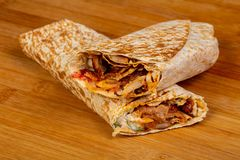 Doner Kebab with meat. And vegetables royalty free stock images