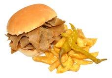 Doner Kebab Mięsna kanapka I układy scaleni obrazy stock