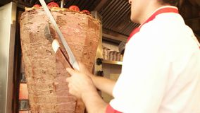 Doner kebab. The most popular food in Turkey stock video