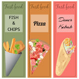 Doner kebab, pizza, fish and chips. Set of fast food. Doner kebab, pizza, fish and chips Royalty Free Stock Photography