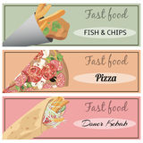 Doner kebab, pizza, fish and chips. Set of fast food banners. Doner kebab, pizza, fish and chips Stock Photography