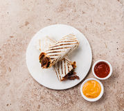 Doner Kebab and sauces Royalty Free Stock Image