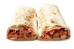Doner kebab, shawarma i pitabröd med köttfyllning royaltyfria foton