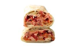 Doner kebab, shawarma i pitabröd med köttfyllning arkivbild