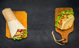 Doner Kebab and Shawarma Sandwich with Copy space Royalty Free Stock Photography