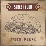 Doner kebab sketch on grunge background. Royalty Free Stock Photography