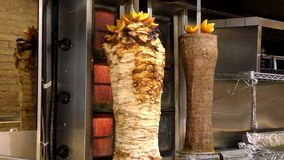 Doner kebab, Turkish cuisine. Fast food. Street cafe offers meat dishes eastern cuisine stock video