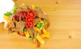 Doner Kebab układy scaleni W brać Daleko od pudełku I mięso fotografia stock