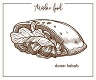 Doner kebab in unusual shape from Arabic food. Pita bread stuffed with grilled poultry, fresh vegetables and lettuce leaves isolated cartoon monochrome flat Royalty Free Stock Image