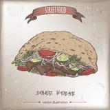 Doner kebabfärg skissar på grungebakgrund stock illustrationer