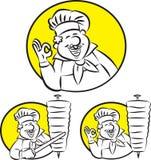Doner kebabkock vektor illustrationer
