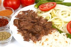 Doner kebap. With rice and salads Stock Photos