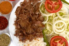 Doner kebap. With rice and salads Royalty Free Stock Photography