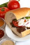 Doner kebap. In bread with yogurt Royalty Free Stock Photos