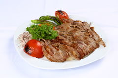 Doner kebap. With french fries and salads Stock Image