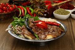Doner kebap. With french fries and salads Royalty Free Stock Photo