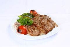 Doner kebap. With french fries and salads Royalty Free Stock Photography