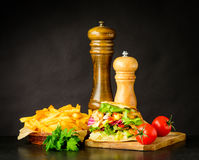 Doner Kebap Sandwich with French Fries Stock Image