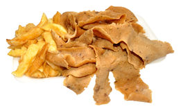 Doner Meat And Chips. Portion of doner meat and chips take away, isolated on a white background Stock Images