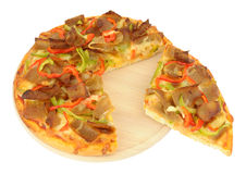 Doner Meat Pizza On A Wooden Cutting Board Royalty Free Stock Photography