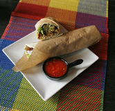 Doner sandwich wrap with red sauce. Doner sandwich with red sauce on a table Stock Images