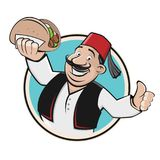 Doner symbol icon restaurant. Clipart of a happy man serving doner Stock Photos